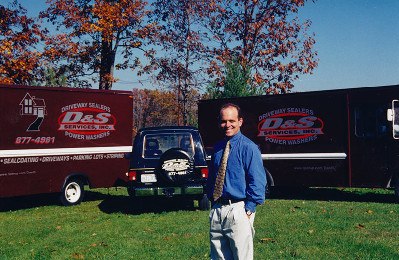A-new-fleet-of-driveway-sealing-trucks,-1997